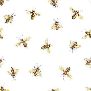 Yellow honey bees on a white background. Acrylic painting. Insects bee art. Handwork. Seamless pattern