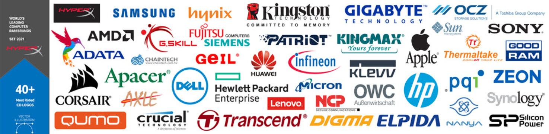 Top World's Leading Computer RAM Brands Logos 2021.  Samsung, Hynix, Kingston, Gigabyte, HyperX, AMD, Adata, Apacer, Corsair, HP, Patriot, Crucial, Transcend, Apple, Kingmax, Lenovo, Sony, Micron...
