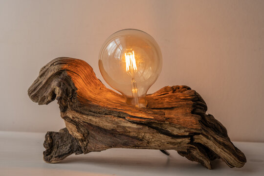 natural raw drift wood house light with exposed led light bulb decoration