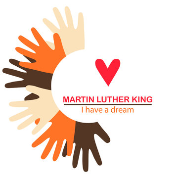 """The isolated object on a white background. The concept of equality of all races. Martin Luther King Day. Liberty. """"I have a dream."""" Hands of different races with hearts. Suitable for posters."""