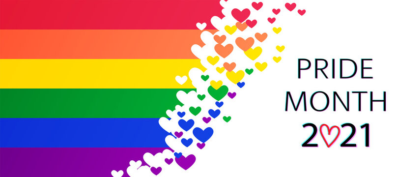 LGBT Pride Month 2021 concept.  Freedom rainbow flag with hearts.