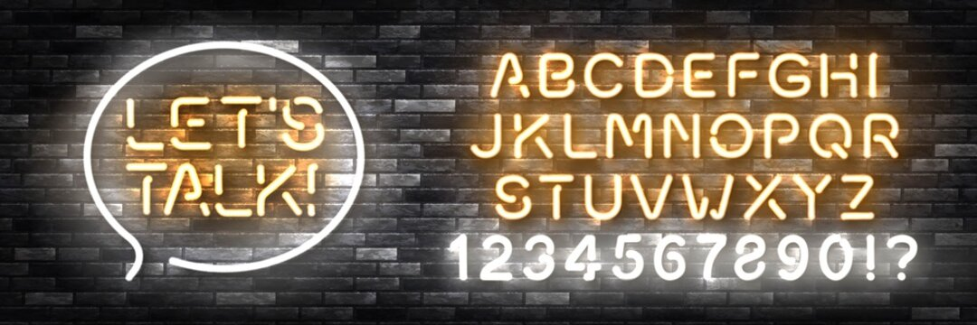 Vector realistic isolated neon sign of Let's Talk with easy to change color font alphabet for template decoration and invitation covering on the wall background.