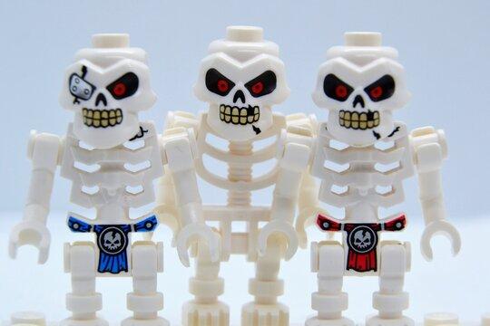 Lego Ninjago minifigures. Skulkin army warriors. Closeup. Warsaw, Poland - March 3 2021