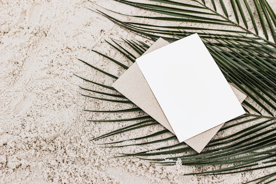 Summer stationery still life. Closeup of blank card mock-up and craft envelope on green date palm leaves. Sandy beach background or desert. Flat lay, top view. Tropical vacation concept.