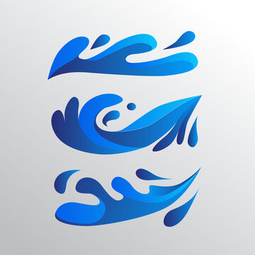 blue color water vector symbols. water splashes symbol. minimalist water icons. water logo design template. sea waves minimalist illutrations.
