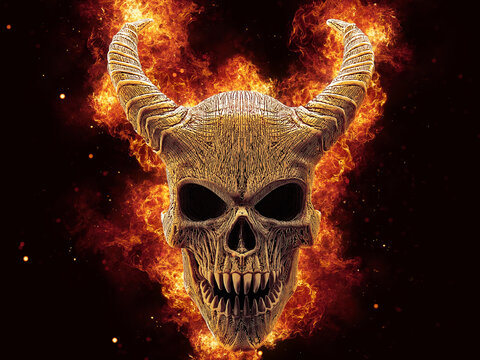 Horned demon skull with huge flames behind it