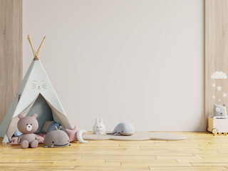 Children's playroom with tent and table sitting white wall,doll.