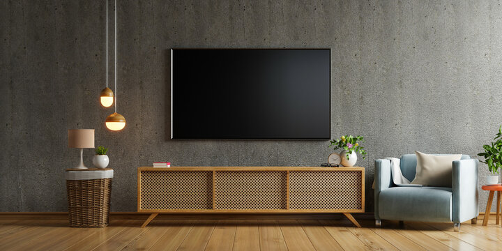 Smart tv mockup on cabinet in living room the concrete wall.