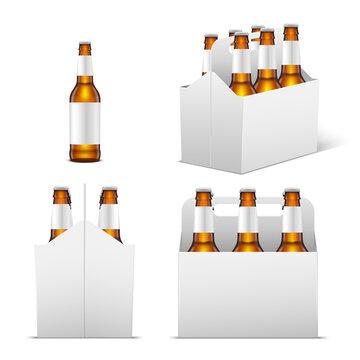 Set glass bottles beer in boxes vector isometric illustration bottle blank packaging cardboard