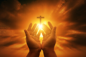 Fototapeta Human hands open palm up worship. Eucharist Therapy Bless God Helping Repent Catholic Easter Lent Mind Pray. Christian Religion concept background. fighting and victory for god obraz
