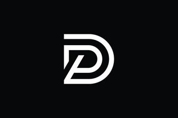 Fototapeta DP logo letter design on luxury background. PD logo monogram initials letter concept. DP icon logo design. PD elegant and Professional letter icon design on black background. D P PD DP obraz