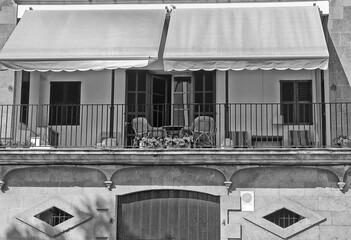 Obraz Veranda on the second floor  with awning - fototapety do salonu