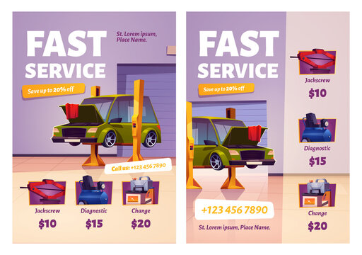 Car repair fast service cartoon ad posters, garage