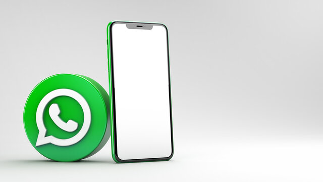Valencia, Spain - March, 2021: WhatsApp icon with mobile phone mockup isolated on a white background in 3D rendering. WhatsApp is an online social media network. Social media messaging app