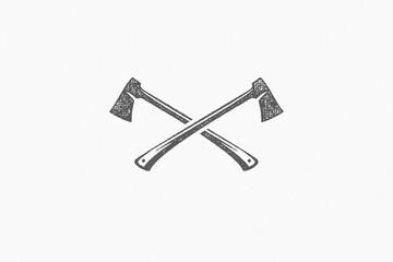 Fototapeta Silhouette lumberjack axes crossed as symbol of logging industry in nature hand drawn stamp effect vector illustration
