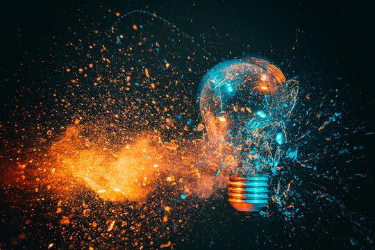 explosion of a filament light bulb.