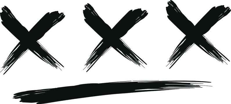 Three letters X. The letters are drawn with a rough brush.