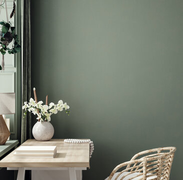 Cozy dark green workplace interior at home, wall mockup, 3d render