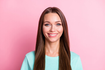Obraz Portrait of young attractive happy positive good mood woman smiling look camera isolated on pink color background - fototapety do salonu