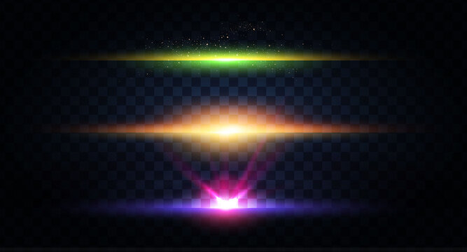 Abstract light effect and lens flare collection. Glowing stars. and sparkles on transparent background. Shining borders