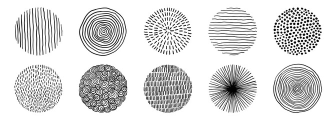 Set Of Doodle Borders. Hand Drawn Scribble Circle Frames Collection. Black And White Design Elements