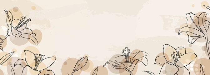 banner background of creative minimalist hand draw illustrations floral outline lily pastel biege simple circle shape for wall decoration, postcard or brochure cover design, banner beauty web cite