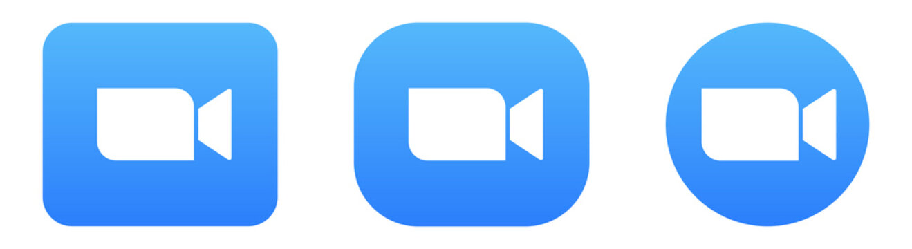 Set of Blue Camera Icons on Different Shapes. App for Video and Audio Conferencing, Webinars, Chat. Concept Vector.