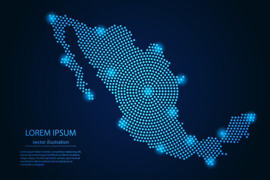 Abstract image Mexico map from point blue and glowing stars on a dark background. vector illustration.
