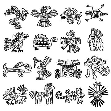 Ancient tribal logo. Mexican aztec icons animals decoration mayan pattern recent vector collection