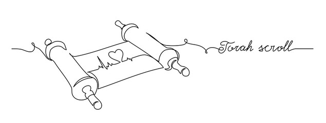 Torah scroll and heart. One continuous line drawing illustration of jewish Torah scroll