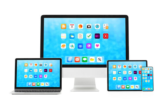 Mockup of different tech gadgets with different sized screens, isolated on white background