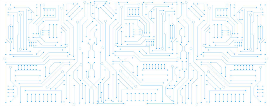 blue circuit electronic or electrical line with engineering technology concept vector background