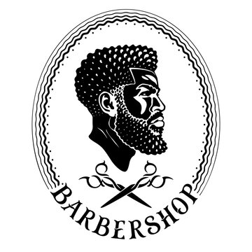 Black style barbershop. Logo design for Afro American barber. Profile of a cool black man with a taper fade haircut and long beard. Head and crossed scissors in the oval frame. Original vintage font.