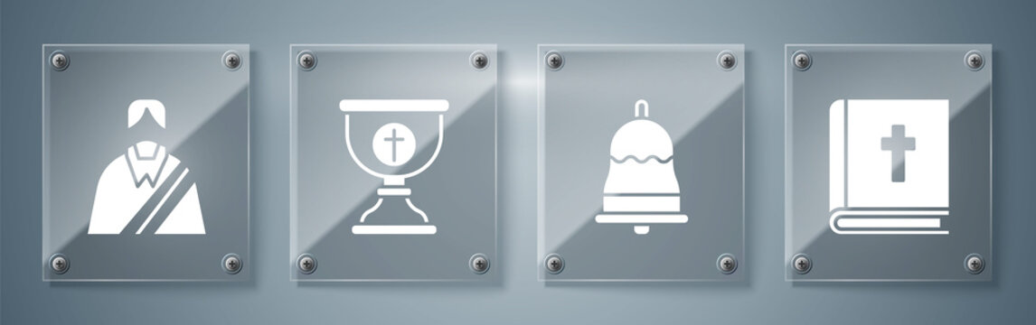 Set Holy bible book, Ringing bell, Christian chalice and Jesus Christ. Square glass panels. Vector