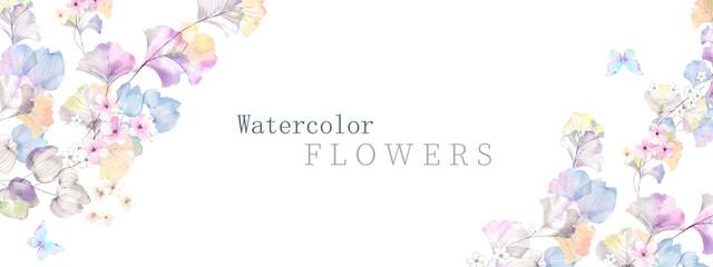 Obraz Watercolor flowers illustration - fototapety do salonu