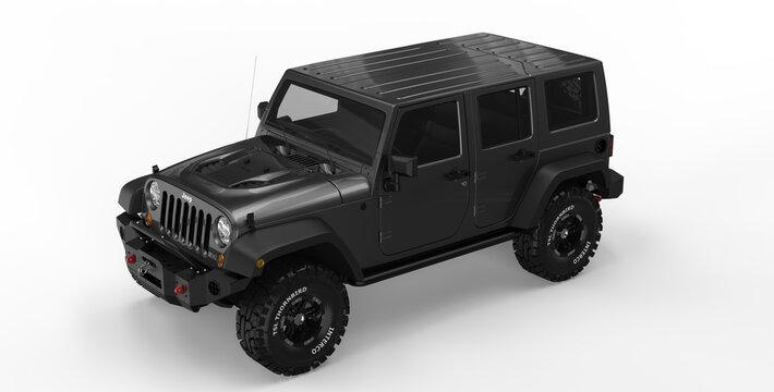 AUSTIN, UNITED STATES - Mar 02, 2021: Black jeep wrangler rendering