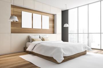 Mockup frames in bedroom with windows