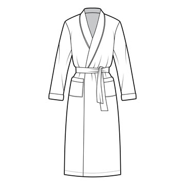 Bathrobe Dressing gown technical fashion illustration with wrap opening, knee length, oversized, tie, pocket, long sleeves. Flat garment front, white color style. Women, men unisex CAD mockup