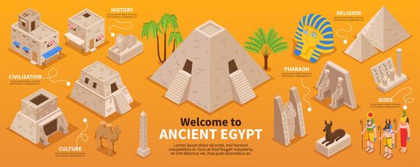 Ancient Egypt Isometric Infographics