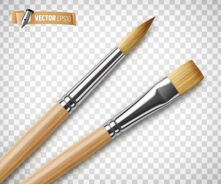 Pinceaux en bois vectoriels sur fond transparent