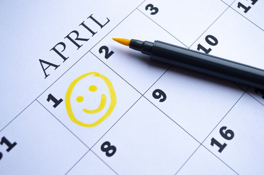 The date of April 1 is circled on the calendar. April Fool's Day