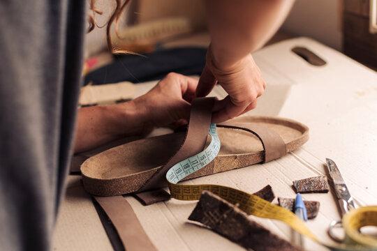 Crafting a handmade sandal