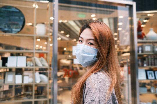 fashion Asian woman wear mask portrait