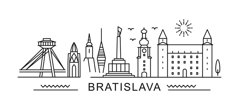 Bratislava minimal style City Outline Skyline with Typographic. Vector cityscape with famous landmarks. Illustration for prints on bags, posters, cards.