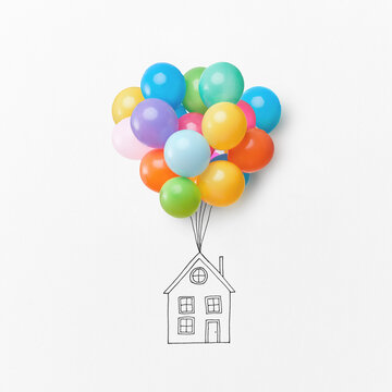 Drawing of a house with colorful air balloons.