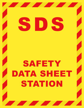 SDS Safety Data Sheet Station Wall Sign. Clipart image