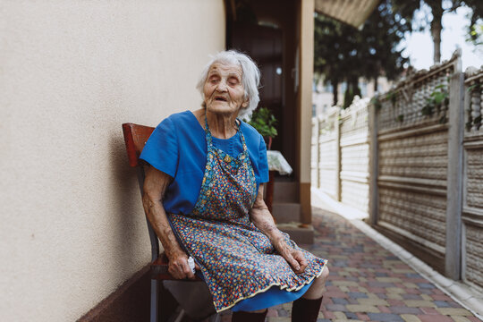 Grandmother spending time on porch