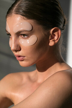 Beauty Concept - Woman With Eye Patches