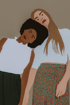 Portrait Of A Two Fashionable Women