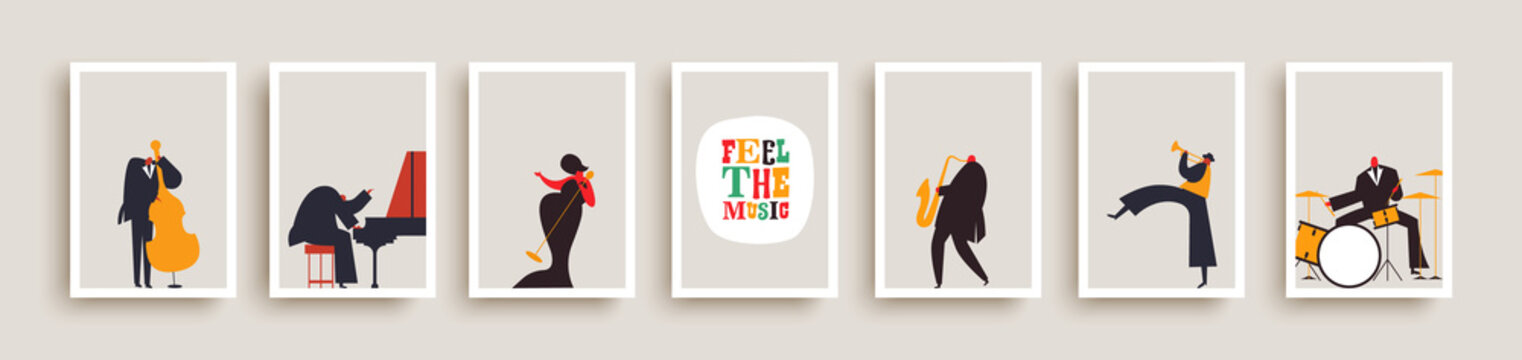 Jazz music band people retro poster collection